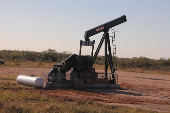 A pumpjack doing its work in South Texas near the Eagle Ford shale play. Photo by Tony Cadwalader.