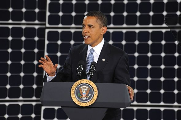 President Barack Obama speaking about government investment in solar technology through the American Recovery and Reinvestment Act . Photo courtesy of WikimediaCommons.