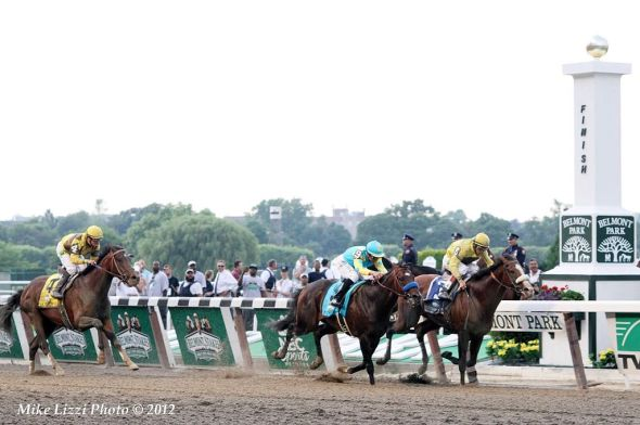 Union Rags and jockey John Velazquez on the inside. Paynter (9) and Mike Smith 2nd, Atigun (4) and Julien Leparoux 3rd, in the 2012 Belmont Stakes. Photo by Mike Lizzi, courtesy of WikimediaCommons.