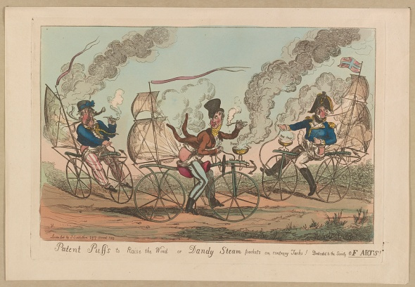 """Patent puffs to raise the wind or Dandy steam packets on contrary Jacks!"" Print shows three men attempting to power their bicycles by means of flatulence, London 1819. An etching from the British Cartoon Prints Collection, via the U.S. Library of Congress, courtesy of WikimediaCommons."